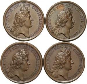 Francja, Ludwik XIV, 4 medale z serii historycznych medali J. Maugera