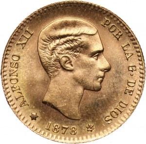 Hiszpania, Alfons XII, 10 peset 1878 (19-62), nowe bicie (restrike)