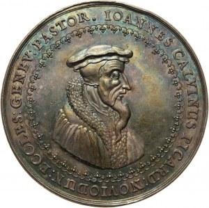 Szwajcaria, Genewa, medal z 1641 roku, Jan Kalwin, autorstwa Sebastiana Dadlera