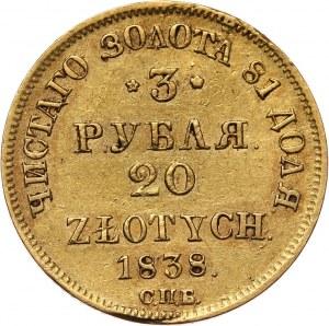 Zabór rosyjski, Mikołaj I, 3 ruble = 20 złotych 1838 ПД СПБ, Petersburg