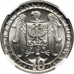 PRL, 10 złotych 1971, 50 rocznica III Powstania Śląskiego, PRÓBA, nikiel