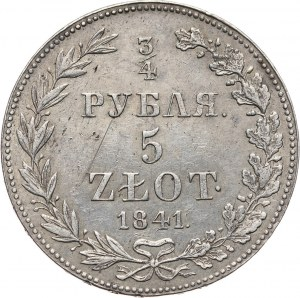 Zabór rosyjski, Mikołaj I, 3/4 rubla = 5 złotych 1841 MW, Warszawa