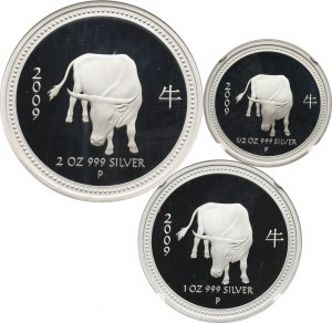 Australia, set of 3 silver coins from 2008, Year of the Ox Proof set