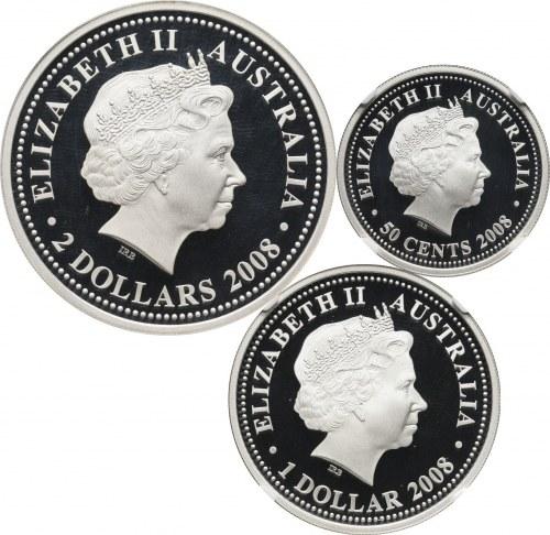Australia, zestaw 3 srebrnych monet z 2008 roku, Rok Wołu, stempel lustrzany