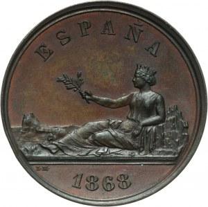 Hiszpania, próbne 5 peset w brązie 1868, Madryt