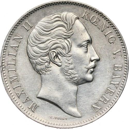 Niemcy, Bawaria, Maksymilian II Józef, dwutalar 1854, Monachium, Wystawa produktów przemysłowych i handlowych