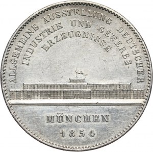 Germany, Bavaria, Miximilian II Josef, 2 Taler 1854, Munich, Exhibition of German products in the Glass Palace in Munich