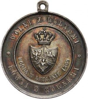 XIX wiek, srebrny medal z uszkiem z 1869 roku, 300-lecie Unii Lubelskiej, Lwów