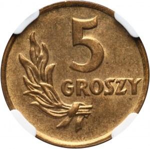 PRL, 5 groszy 1949, bez napisu PRÓBA, mosiądz