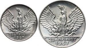 Grecja, zestaw monet 50 i 100 drachm 1970, 3-cia Rocznica Rewolucji