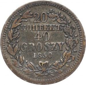 Zabór rosyjski, Mikołaj I, 20 kopiejek = 40 groszy 1850 MW, Warszawa