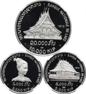 Laos, zestaw monet 2x5000 i 10000 kip 1975