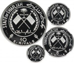 Sharjah, zestaw monet 1, 2, 5 i 10 riali z 1970 roku