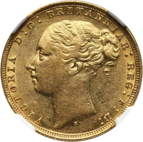 Australia, Wiktoria, suweren 1879 S, Sydney, odmiana ze św. Jerzym na rewersie