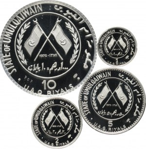 Umm al Qaiwain, zestaw monet 1, 2, 5 i 10 riali 1970