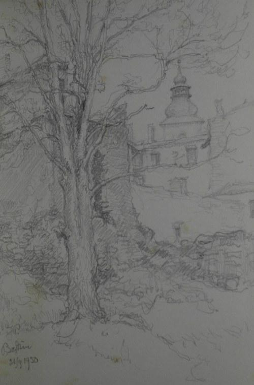 Józef Pieniążek (1888–1953), Motyw z Będzina z wieżą kościoła Św. Trójcy w dali, 1950