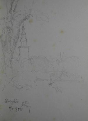Józef Pieniążek (1888–1953), Widok na wieżę opactwa cysterskiego w Henrykowie, 1950