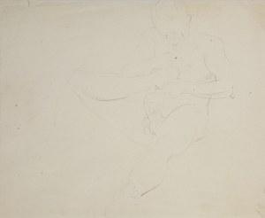 Wlastimil Hofman (1881-1970), Szkic aktu siedzącego mężczyzny fauna? gryzącego paluch prawej stopy, ok 1910
