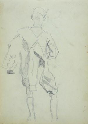 Wojciech Kossak (1856-1942), Ułan z kurtką przewieszoną na ramieniu, ujęty z tyłu – szkic
