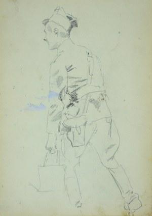 Wojciech Kossak (1856-1942), Ułan idący z wiadrem (?) – szkic