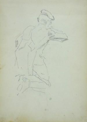 Wojciech Kossak (1856-1942), Ułan w przyklęku, złożony do strzału, ukazany tyłem – szkic