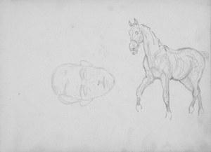 Karol Kossak (1896-1975), Studium konia idącego stępem, zarys głowy mężczyzny, 1922