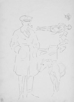 Karol Kossak (1896-1975), Szkice mężczyzny z psem oraz scenki ulicznej, 1922