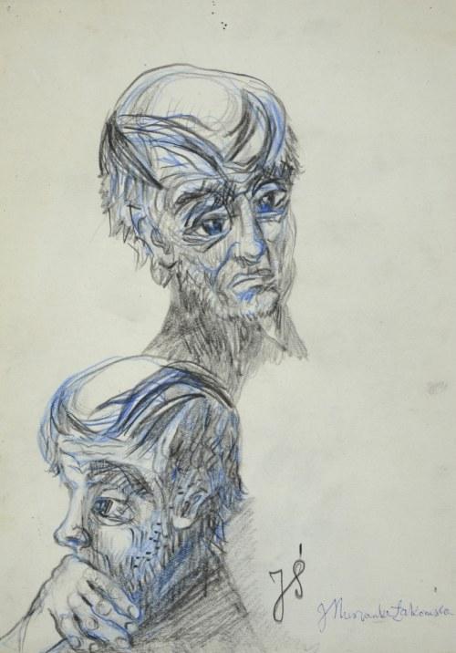 Janina Muszanka - Łakomska (1920-1982), Szkice głów mężczyzny – Portret J. Ś. , ok. 1975