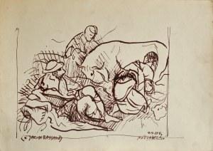 """Kazimierz Podsadecki (1904 – 1970), Scena pasterska - wg """"Zwiastowania pasterzom"""" Jacopo Bassano, 2 IV1964"""