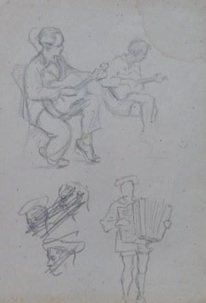 Ludwik Maciąg (1920-2007), Szkice mężczyzn grających na gitarach oraz mężczyzny grającego na akordeonie