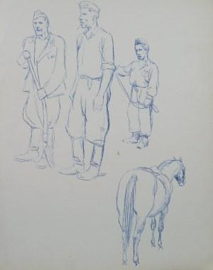 Ludwik Maciąg (1920-2007), Szkice żołnierzy (partyzantów?) oraz konia