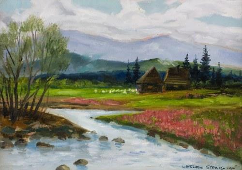 Leszek Stańko (1924-2011), Pejzaż z górskim potokiem, 2000