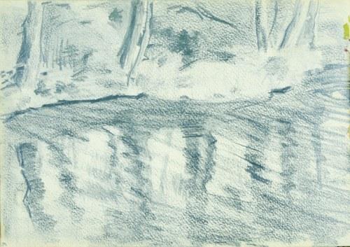Włodzimierz Tetmajer (1861 – 1923), Drzewa nad rzeką – szkic, 1907