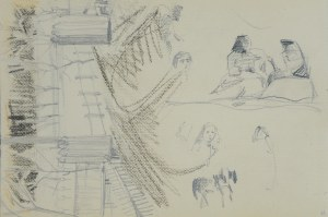 Włodzimierz Tetmajer (1861 – 1923), Zagroda oraz szkice wiejskich kobiet, konia, ok. 1900