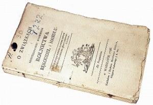 MALESZEWSKI- O ZWIĄZKACH I PRZYSTOSOWANIU WZAJEMNYM ROLNICTWA, RĘKODZIEŁ I HANDLU wyd. 1786