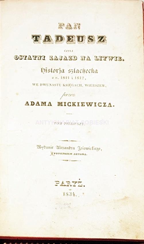 MICKIEWICZ PAN TADEUSZ T1 2 Pary 1834 Wyd1