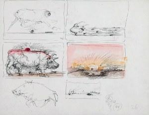 Franciszek STAROWIEYSKI (1930-2009), Karta ze szkicownika nr 26 [szkic dwustronny], 1981