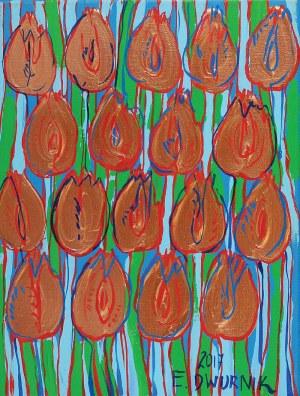 Edward DWURNIK (ur. 1943), Miedziane tulipany, 2017