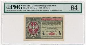 1/2 marki 1916 Jenerał -A- PMG 64 - numerator czerwony