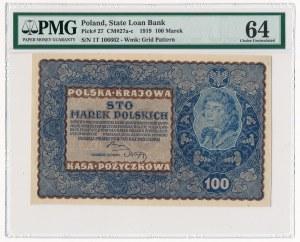 100 marek 1919 - I Serja T - PMG 64 - rzadsza