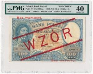 100 złotych 1919 WZÓR - PMG 40 - wysoki nadruk