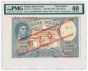 100 złotych 1919 WZÓR - PMG 40 - niski nadruk