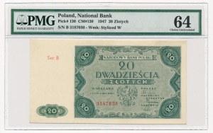20 złotych 1947 -B- PMG 64