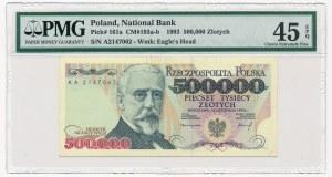 500.000 złotych 1993 -AA- PMG 45 EPQ - rzadka