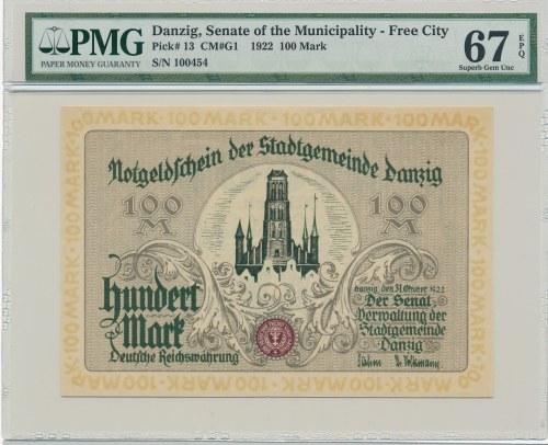 Gdańsk 100 marek 1922 - PMG 67 EPQ - niespotykana nota