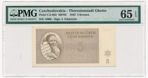 Czechosłowacja - Getto Terezin - 5 koron 1943 - PMG 65 EPQ