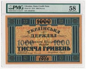 Ukraina - 1.000 hrywien 1918 -A- PMG 58 EPQ