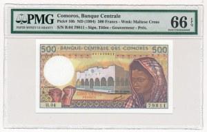 Komory - 500 franków 1994 - PMG 66 EPQ