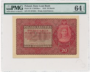 20 marek 1919 - II Serja Y - PMG 64 EPQ - rzadsza