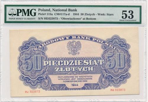50 złotych 1944 ...owe -Hd- PMG 53 - bardzo rzadka seria zastępcza